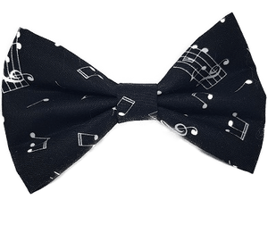 Rockabilly pin up fabric hair bow - music notes