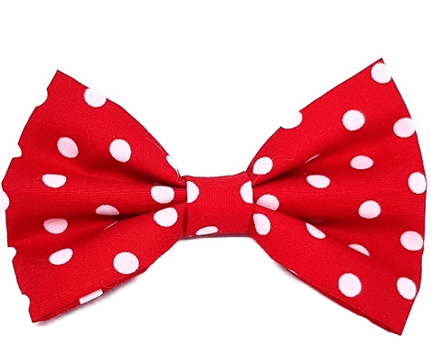 Rockabilly pin up fabric hair bow - red and white polka dot