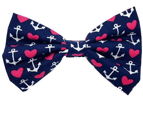 Rockabilly pin up fabric hair bow - sailor Navy red white