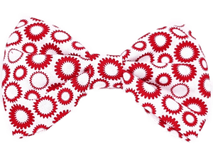 Rockabilly pin up fabric hair bow - white with red circles