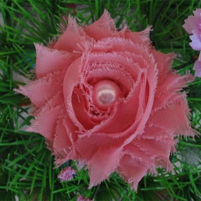 Shabby Chiffon Flower for Hair - Coral