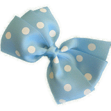Sweetheart hair bows for teens light blue spots