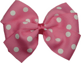 Sweetheart hair bows for teens - pink and white spots
