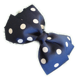 Sweetheart hair bows for teens - navy and white spots