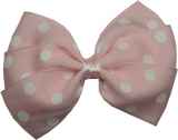 Sweetheart hair bows for teens - light pink and white spots