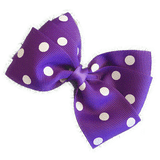 Sweetheart hair bows for teens - purple and white spots