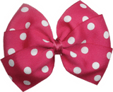 Sweetheart hair bows for teens - hot pink spots