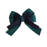 amore bow double layer colour school uniform hair clip school hair accessories hair bow baby girl pinkberry kisses Hunter Green Black
