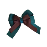 amore bow double layer colour school uniform hair clip school hair accessories hair bow baby girl pinkberry kisses Hunter Green Brown