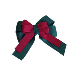 amore bow double layer colour school uniform hair clip school hair accessories hair bow baby girl pinkberry kisses Hunter Green  Burgundy