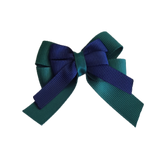 amore bow double layer colour school uniform hair clip school hair accessories hair bow baby girl pinkberry kisses Hunter Green  Navy Blue