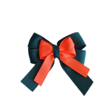 amore bow double layer colour school uniform hair clip school hair accessories hair bow baby girl pinkberry kisses Hunter Green  Neon Orange