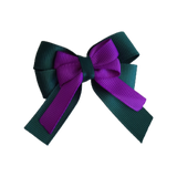 amore bow double layer colour school uniform hair clip school hair accessories hair bow baby girl pinkberry kisses Hunter Green Purple