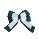 amore bow double layer colour school uniform hair clip school hair accessories hair bow baby girl pinkberry kisses Hunter Green White