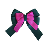 amore bow double layer colour school uniform hair clip school hair accessories hair bow baby girl pinkberry kisses Hunter Green  garden rose