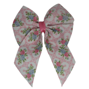 Amore Hair Bow -  Pink Floral 6.5cm Hair accessories for girls Hair Accessories for Babies Hair Bow for Babies Hair bow for Toddler Non Slip Hair Bow Pinkberry Kisses