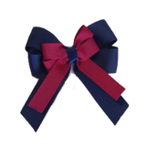 Amore Hair Bow - Plain Colour - Navy Blue Base and Centre Ribbon (31 colours Top)