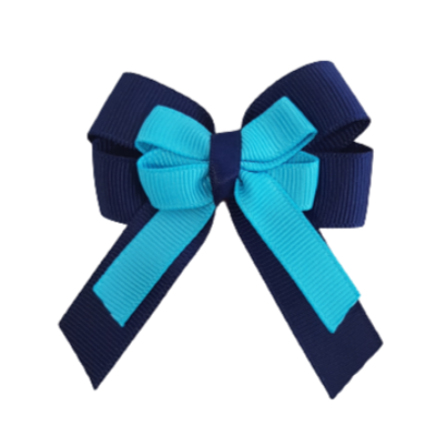 amore bow double layer colour school uniform hair clip school hair accessories hair bow baby girl pinkberry kisses Navy Blue Misty Turquoise