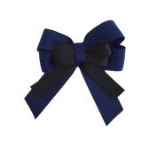 amore bow double layer colour school uniform hair clip school hair accessories hair bow baby girl pinkberry kisses Navy Blue Black