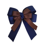 amore bow double layer colour school uniform hair clip school hair accessories hair bow baby girl pinkberry kisses Navy Blue Brown