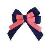 amore bow double layer colour school uniform hair clip school hair accessories hair bow baby girl pinkberry kisses Navy Blue Coral Rose