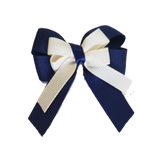 amore bow double layer colour school uniform hair clip school hair accessories hair bow baby girl pinkberry kisses Navy Blue Cream Ivory
