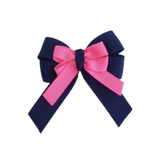 amore bow double layer colour school uniform hair clip school hair accessories hair bow baby girl pinkberry kisses Navy Blue Hot Pink