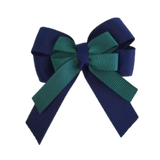 amore bow double layer colour school uniform hair clip school hair accessories hair bow baby girl pinkberry kisses Navy Blue Hunter Green