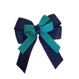 amore bow double layer colour school uniform hair clip school hair accessories hair bow baby girl pinkberry kisses Navy Blue Jade