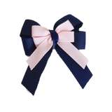 amore bow double layer colour school uniform hair clip school hair accessories hair bow baby girl pinkberry kisses Navy Blue Light Pink