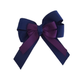 amore bow double layer colour school uniform hair clip school hair accessories hair bow baby girl pinkberry kisses Navy Blue Plum