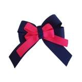 amore bow double layer colour school uniform hair clip school hair accessories hair bow baby girl pinkberry kisses Navy Blue Shocking Pink