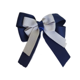 amore bow double layer colour school uniform hair clip school hair accessories hair bow baby girl pinkberry kisses Navy Blue Silver Grey