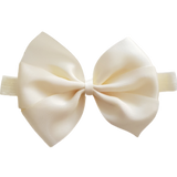 babies and toddler soft Bow headband - Bella Hair bow satin Cream Ivory Pinkberry Kisses