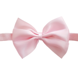 babies and toddler soft Bow headband - Bella Hair bow satin Light Pink Pinkberry Kisses