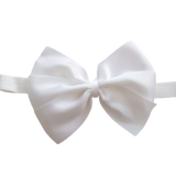 babies and toddler soft Bow headband - Bella Hair bow satin White Pinkberry Kisses