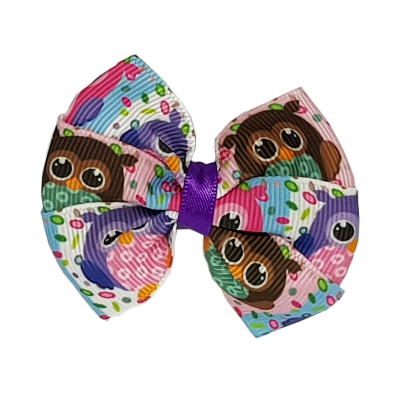 Bella Hair Bow - Colourful Owls Hair accessories for girls Hair Accessories for Babies Hair Bow for Babies Hair bow for Toddler Non Slip Hair Bow