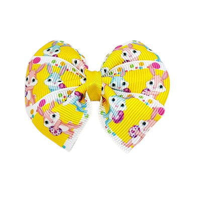 Bella Hair Bow - Easter Bunny Yellow