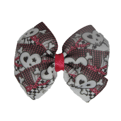 Bella Hair Bow - Love Heart Skull and Crossbones - 7cm Hair accessories for girls Hair accessories for baby - Pinkberry Kisses