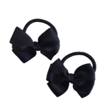 Plain Colour Bella Hair Bow 6cm Black - Non Slip Hair Clip Bow Hair Accessories