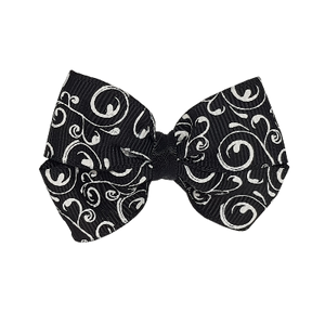 Cherish Hair Bow - Black and White Swirls - Hair Accessories for Girl Baby Children Pinkberry Kisses