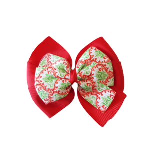Christmas Hair Accessories - Double Bella Hair Bow Red and Green Paisley Hair accessories for girls Hair accessories for baby - Pinkberry Kisses