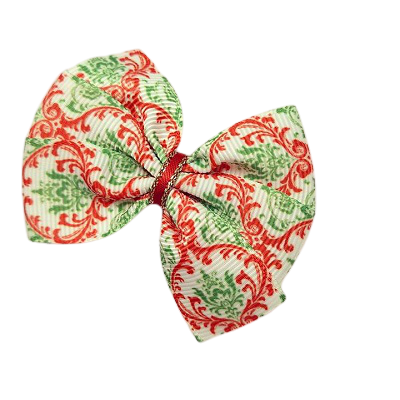 Christmas hair accessories - Bella Bow Red and Green Paisley Hair accessories for girls Hair accessories for baby - Pinkberry Kisses
