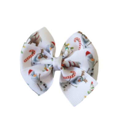 Christmas Hair Accessories - Bella Bow Christmas Snowman with Candy Canes Hair accessories for girls Hair accessories for baby - Pinkberry Kisses