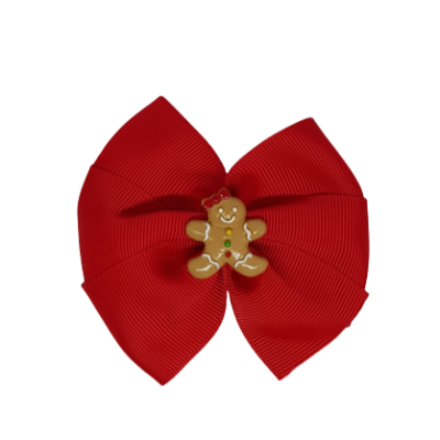 Christmas Hair Accessories - Red Bella Gingerbread Girl Hair Bow Hair accessories for girls Hair accessories for baby - Pinkberry Kisses