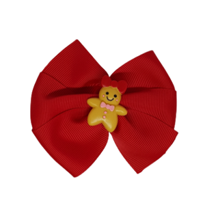 Christmas Hair Accessories - Red Bella Gingerbread Man Hair Bow Hair accessories for girls Hair accessories for baby - Pinkberry Kisses