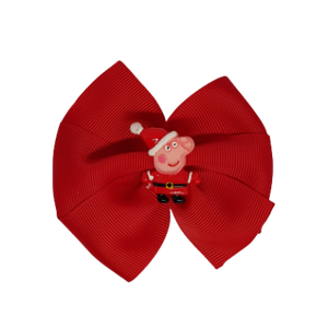 Christmas Hair Accessories - Red Bella Peppa Pig Santa Hair Bow Hair accessories for girls Hair accessories for baby - Pinkberry Kisses