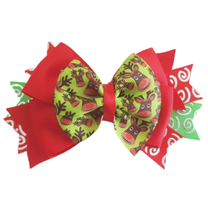 Christmas Hair Accessories - Stacked Layered Green Reindeer Hair Bow Hair Clip - Pinkberry Kisses