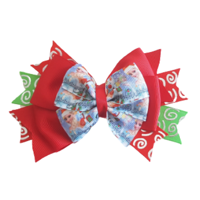 Christmas Hair Accessories - Stacked Layered Merry Christmas Frozen Pinkberry Kisses