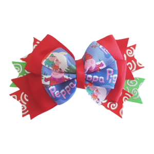 Christmas Hair Accessories - Stacked Layered Peppa Pig Hair Bow Hair Clip - Pinkberry Kisses